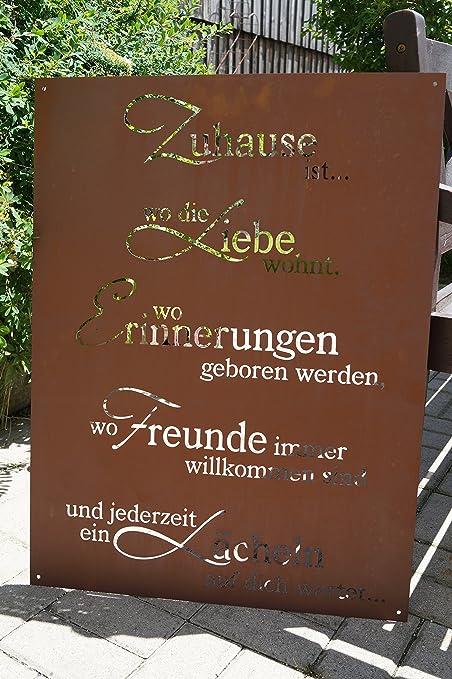 Ferrum Edelrost Tafel Zuhause 80x60cm Spruch Garten Metall Rost
