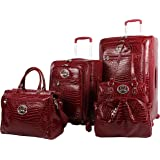 Kathy Van Zeeland Croco PVC Designer Luggage - 4 Piece Softside Expandable Lightweight Spinner Suitcases - Travel Set include