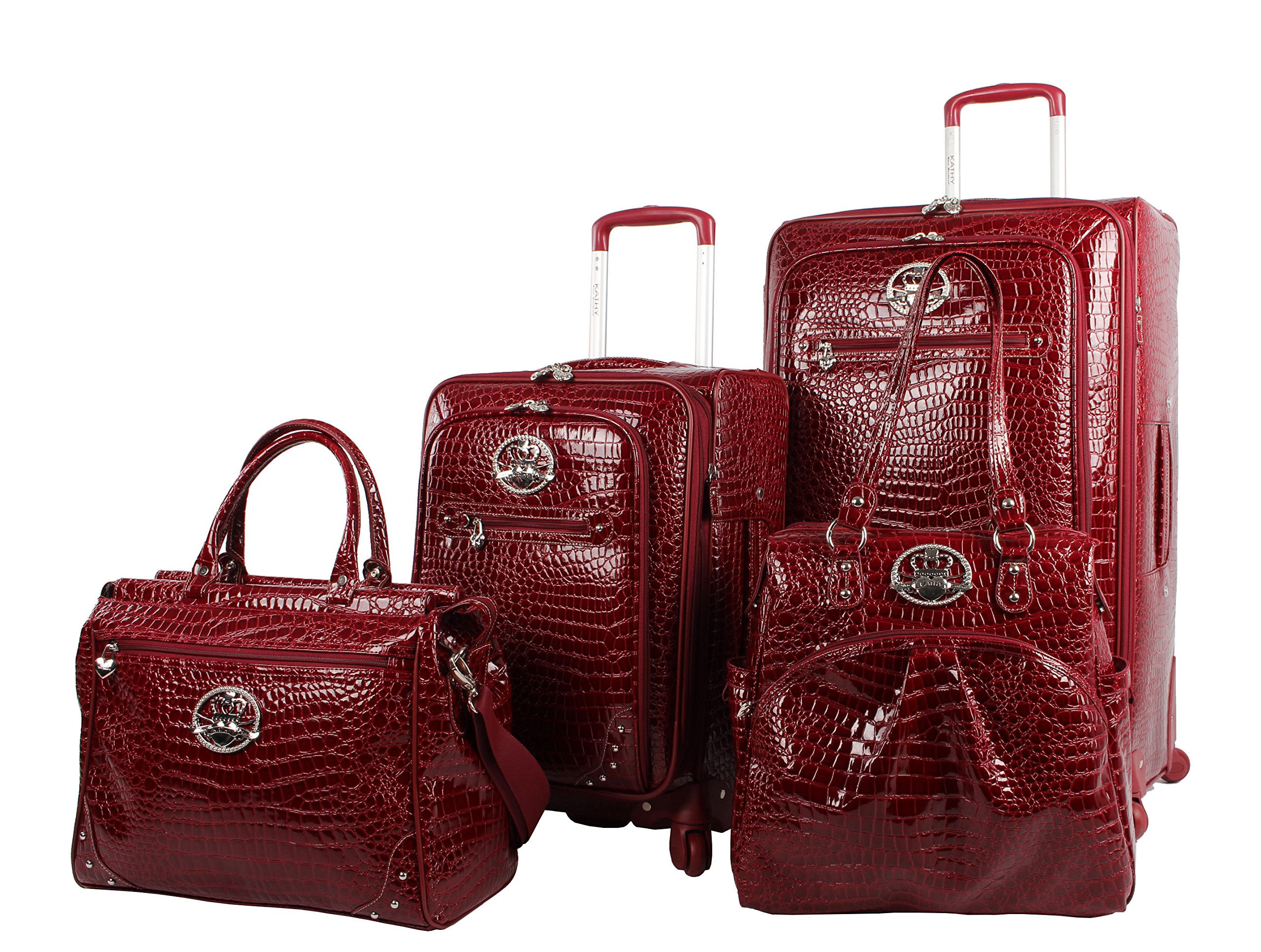 Kathy Van Zeeland Croco PVC Luggage Set 4 Piece Expandable Suitcase with Spinner Wheels (One Size, Burgendy)