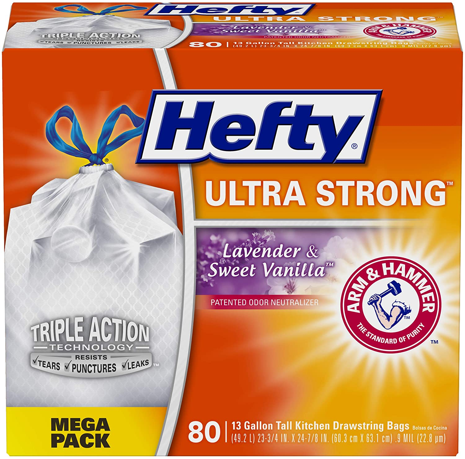 Hefty Ultra Strong Tall Kitchen Trash Bags - Lavender Sweet Vanilla, 13 Gallon, 80 Count