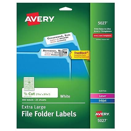 Amazon Avery White Extra Large File Folder Labels For Laser