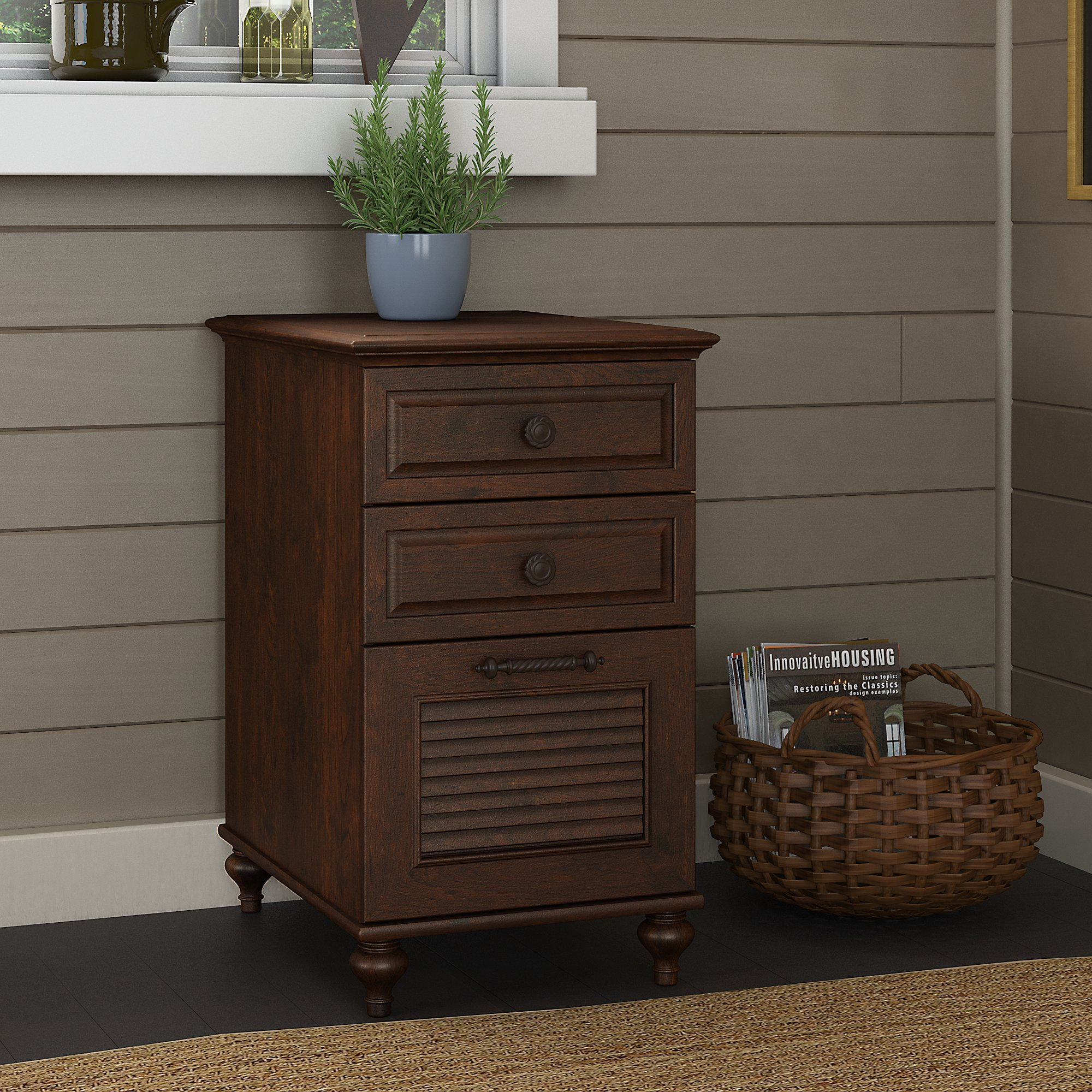 kathy ireland Home by Bush Furniture Volcano Dusk 3 Drawer File Cabinet in Coastal Cherry by kathy ireland Home by Bush Furniture