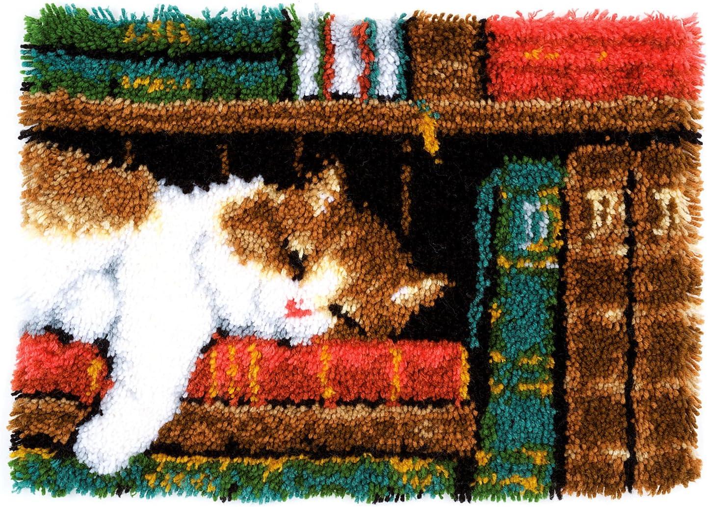 Vervaco Cat on Bookshelf Latch Hook Kit