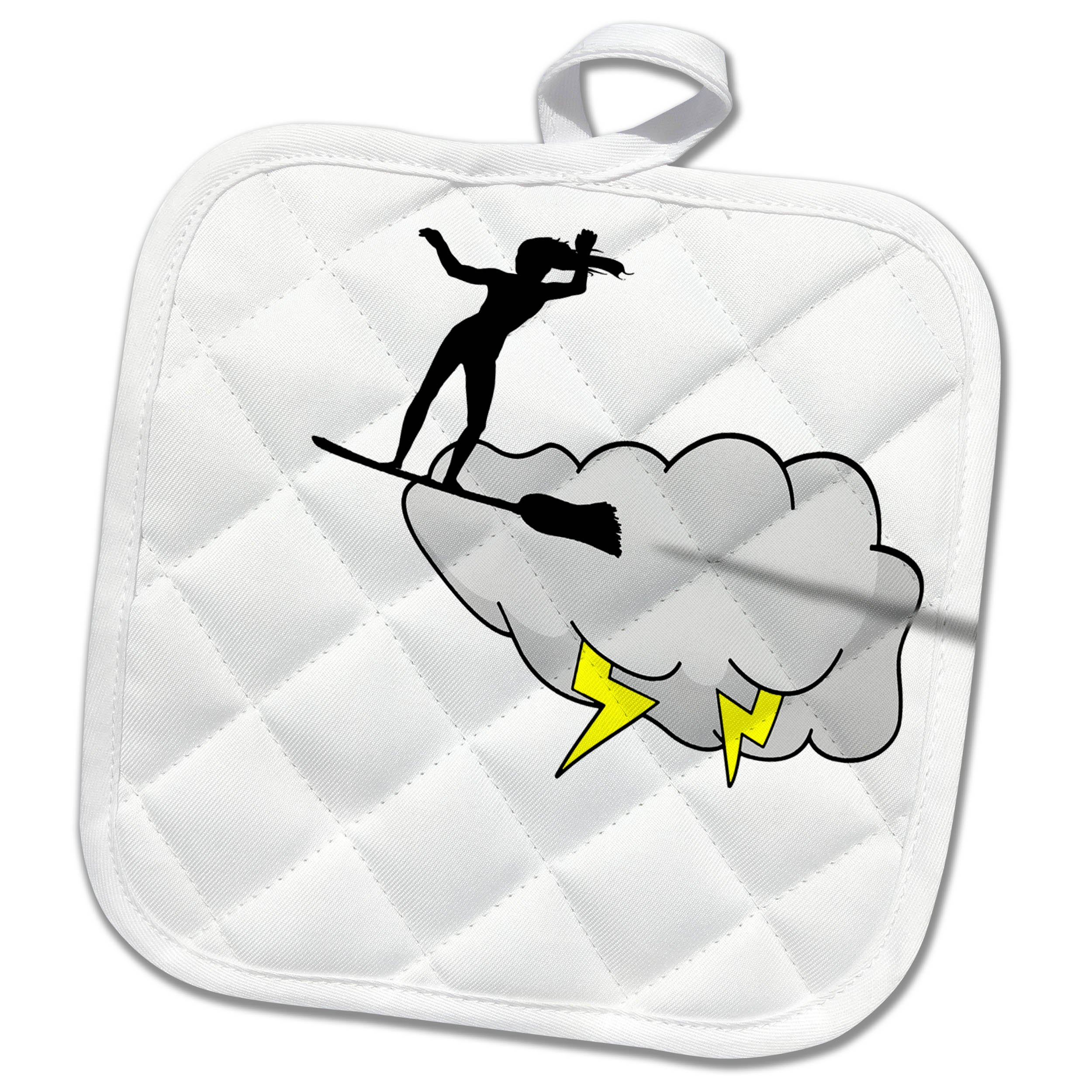 3dRose Alexis Design - Beach, Sea, Surf - Witch surfs sky on broom stick. Free space for the custom text - 8x8 Potholder (phl_271754_1)