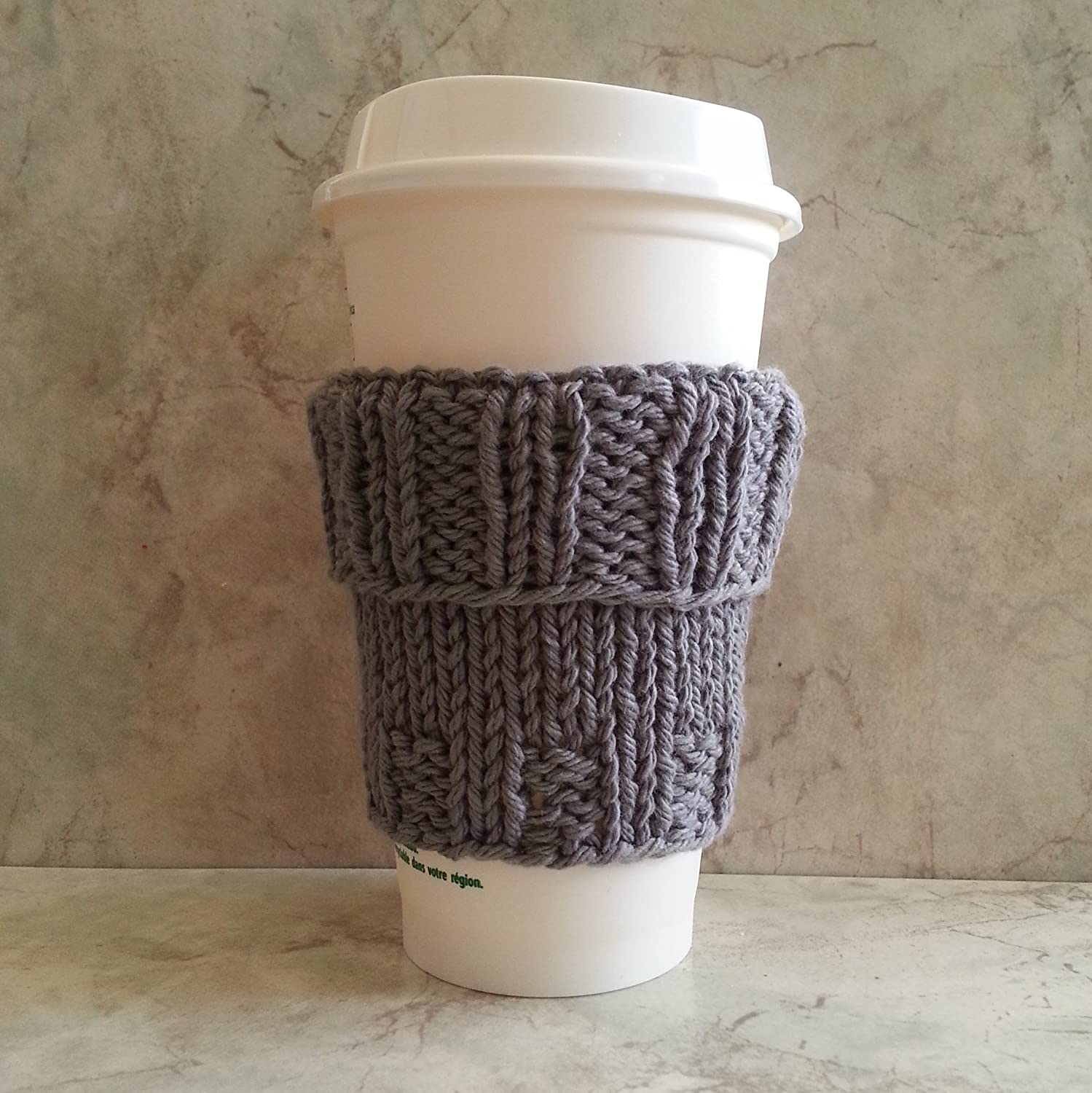 Amazon Coffee Cup Cozy Sleeve Hand Knit Cotton Grey Mug Cozy