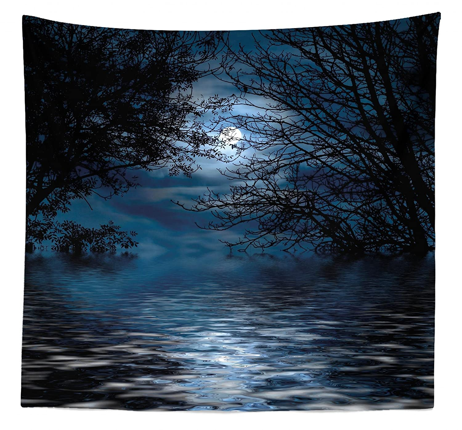 """Lunarable Night Sky Tapestry Queen Size, Witchcraft Spell Ceremony Atmosphere Forest Full Moon Branches Image, Wall Hanging Bedspread Bed Cover Wall Decor, 88"""" X 88"""", Blue Black"""