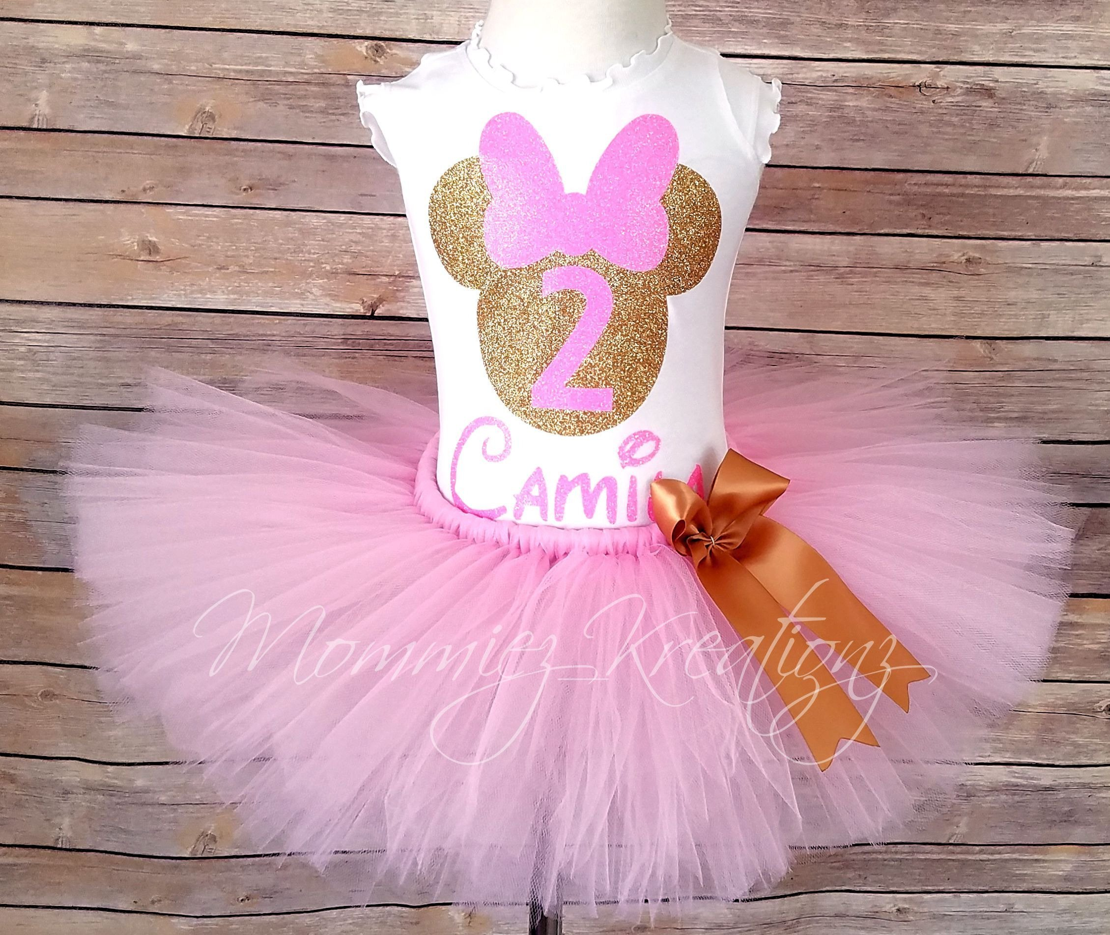 Pink & Gold Minnie Tutu Set, Minnie Mouse Tutu