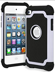 iPod Touch 4 Case, Bastex Hybrid Slim Fit Black Rubber Silicone Cover Hard Plastic White & Black Shock Case for Apple iPod Touch 4, 4th Generation