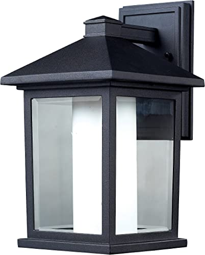 Z-Lite 523M Mesa Outdoor Wall Light, Aluminum Frame, Black Finish and Clear Beveled and Matte Opal Shade of Glass Material