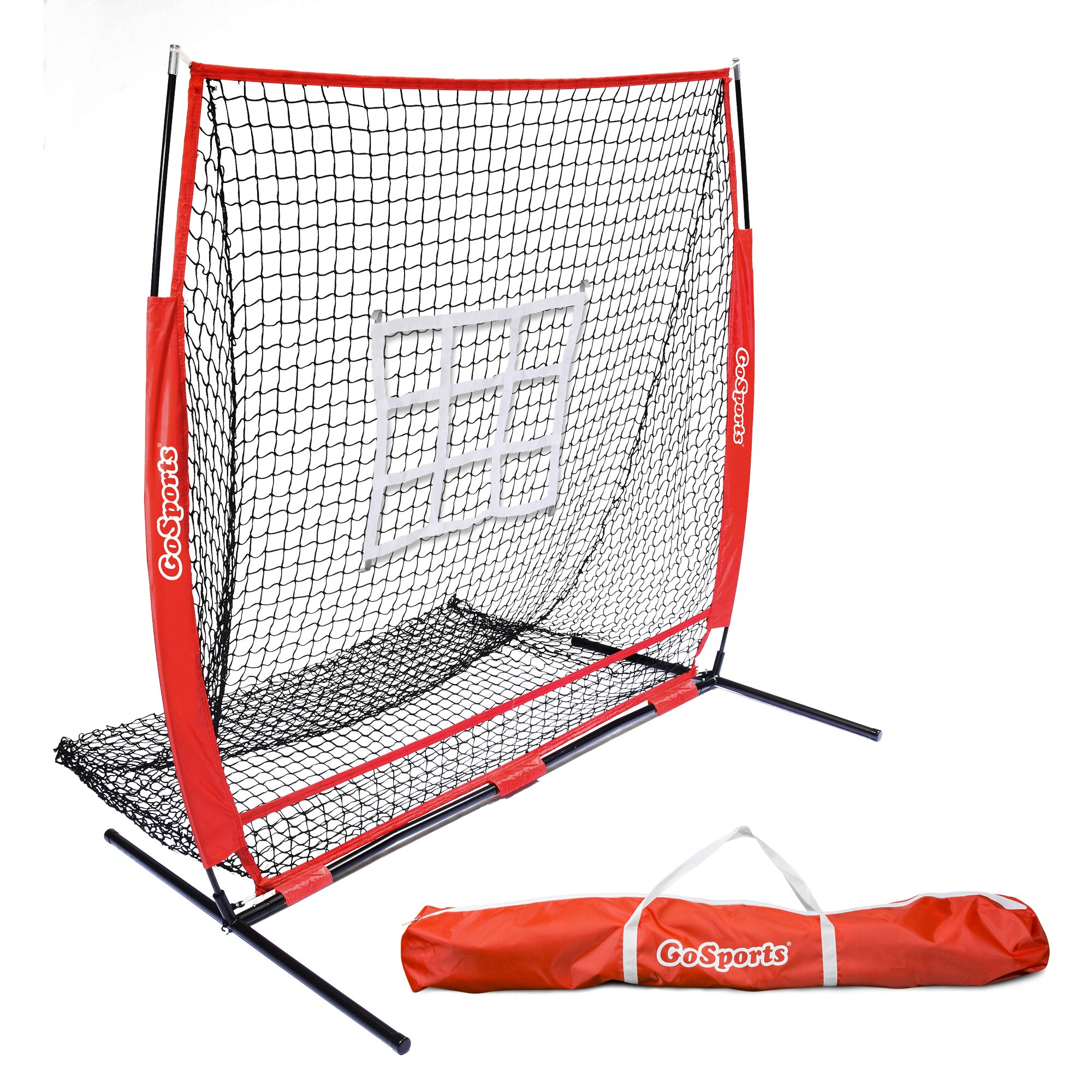 GoSports 5'x5' Baseball & Softball Practice Pitching & Fielding Net with Bow Frame, Carry Bag and Bonus Strike Zone, Great for all Skill Levels