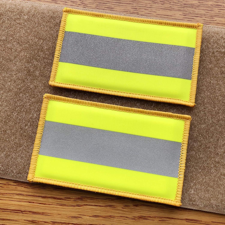 2 Pack Reflective Morale Fastener Safety Patch Hook Loop Firefighter Rescue  Police EMT EMS Hi Vis Patch (Fluor Yellow)