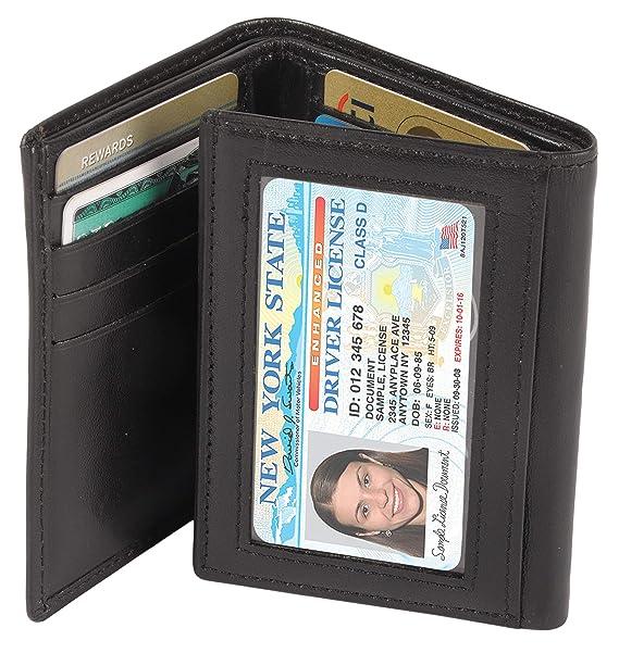 Amazon.com: RFID - Cartera de piel triple para hombre, hecha ...