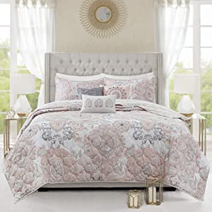 """Madison Park Reversible Cotton Quilt-Luxury Stitching Design All Season, Breathable Coverlet Bedspread Bedding, Shams, Decorative Pillow, Full/Queen(90""""x90""""), Isla, Damask Blush 6 Piece"""