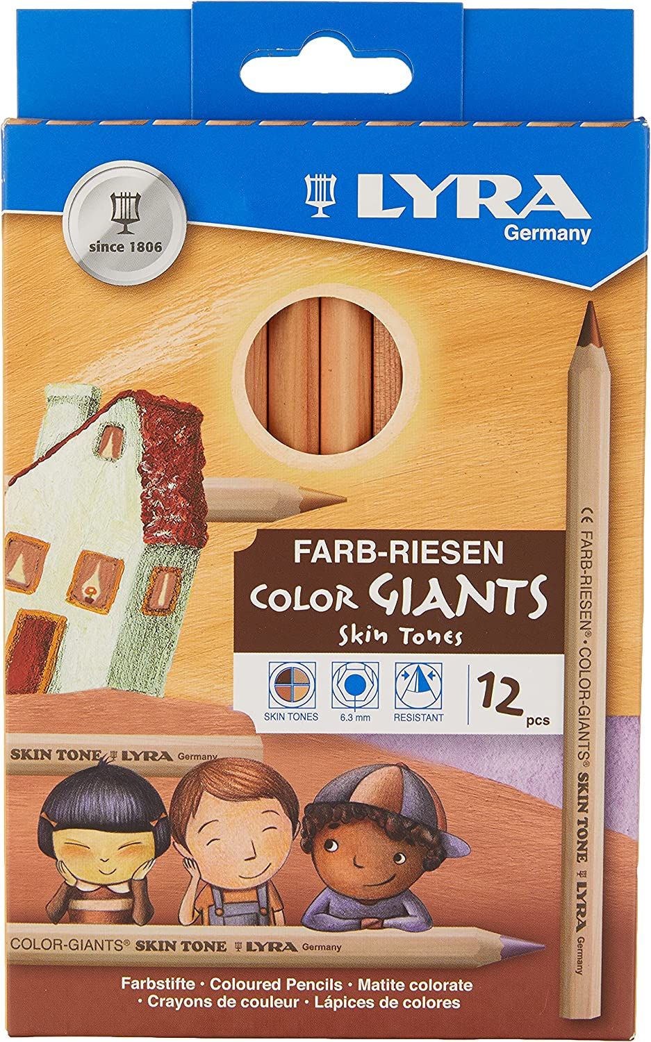 Lyra Color-Giants Colored Pencils, Unlacquered, 6.25 Millimeter Cores, Assorted Skin Tone Colors, 12-Pack (3931124), Multicolor