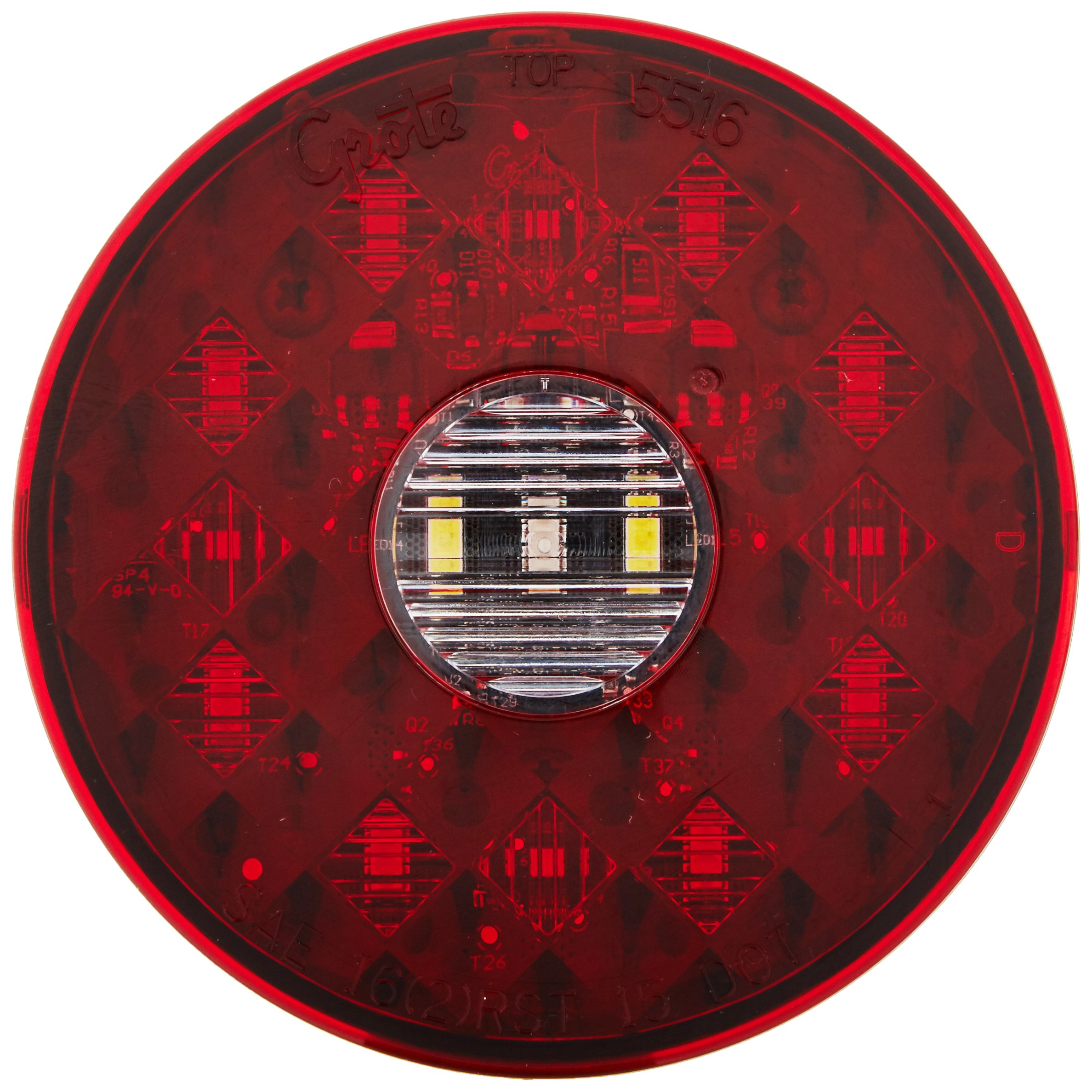 Grote 55162 4'' Round LED Stop Tail Turn Light with Integrated Backup (Integrated 4-Pin Hard Shell Termination)