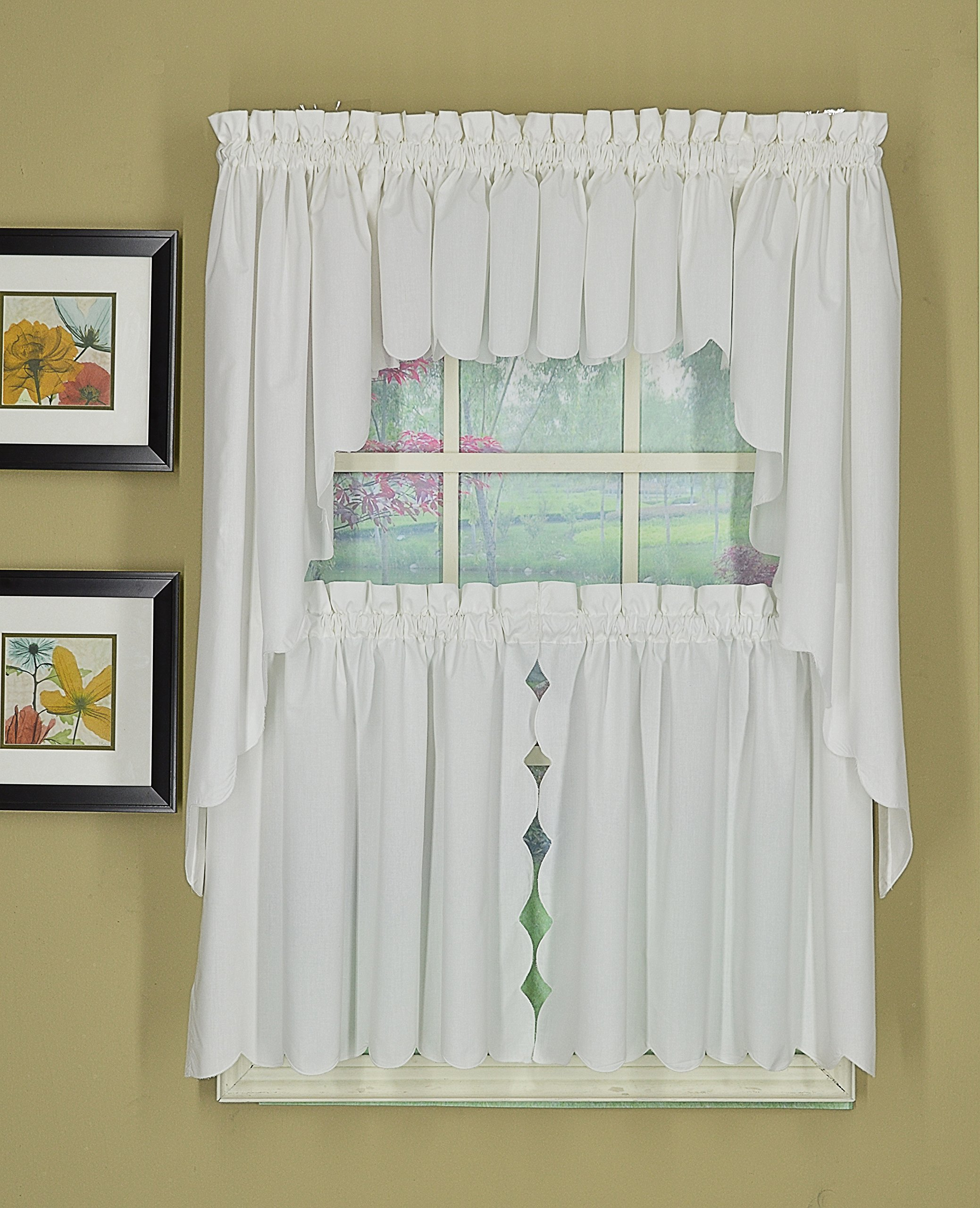 Today's Curtain CA2003K Orleans 30'' Tier Pair with Tiebacks Tambour Scallop Edge Curtain, White, 60'' W x 30'' L/TB