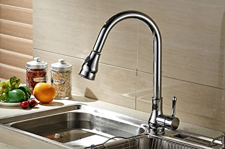 Klabb Faucet KF 8001C Single Handle Pull-Down Kitchen Faucet with ...
