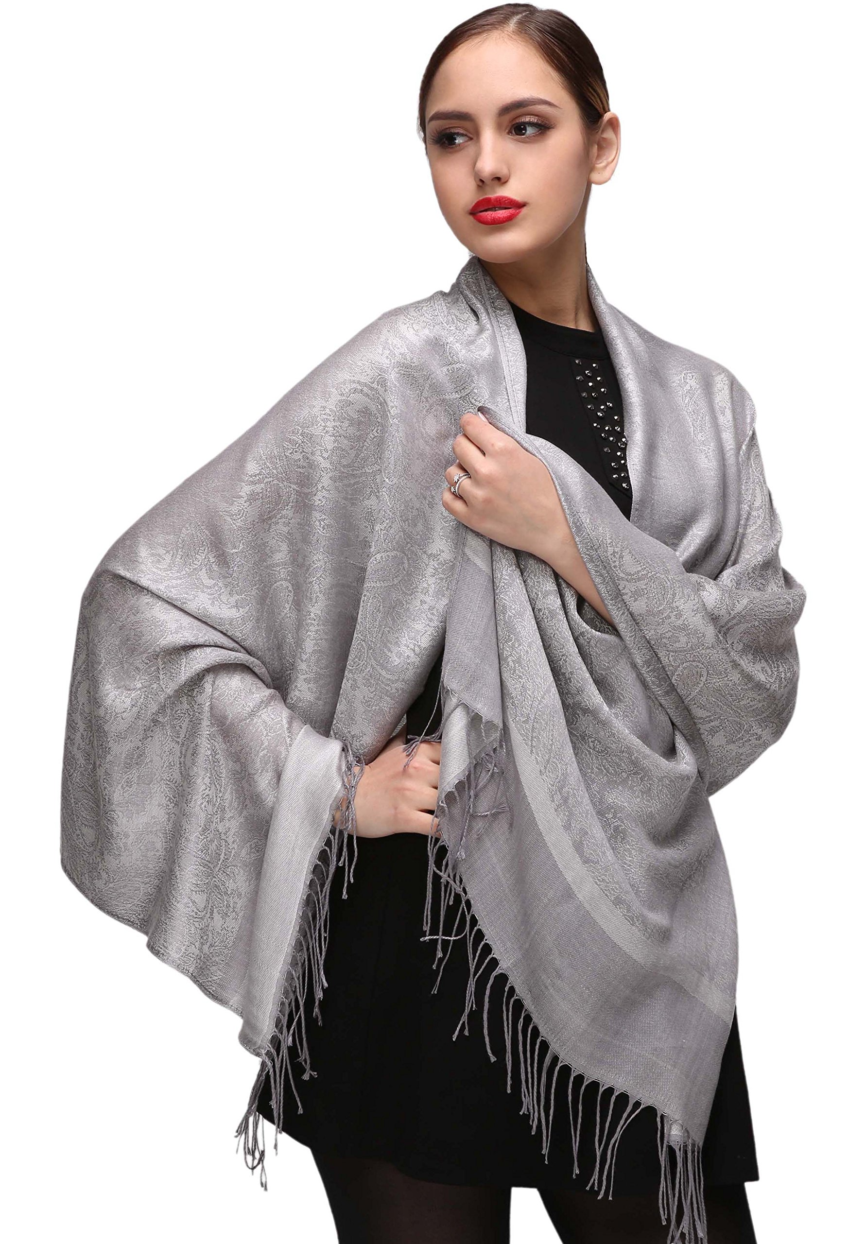 Silver Pashminas Shawls and Wraps for Weddings or Evening Dresses
