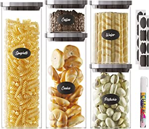 glass food storage jars,stainless Steel Lids,5 assorted stackable containers vacuum seal,for cereal tea Coffee Sugar,Kitchen & Pantry organizer Clear Glass,included 16 waterproof sticker & Marker