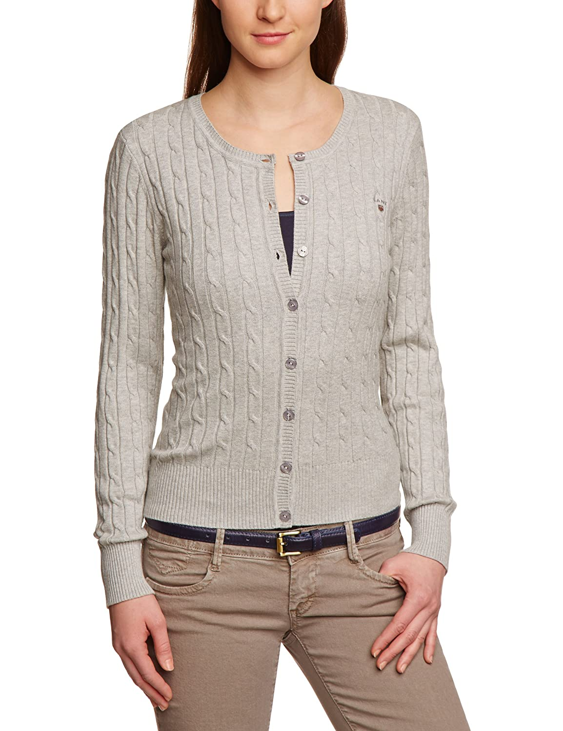 Gant Stretch Cotton Cable Crew Cardigan - Jersey de Punto para Mujer
