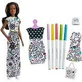 Barbie Colora La Moda,con pennarelli Crayola e Abiti da colorare Lavabili,, FPH91