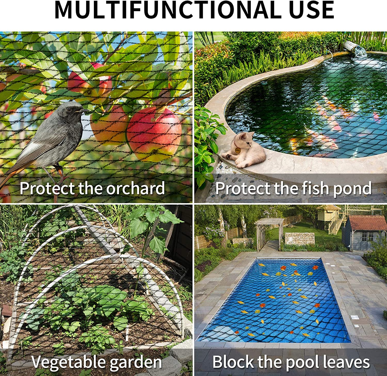 SRJTEK Pond Netting Kit 15 x 20 Feet Protect Koi Fish from Birds Cats Predators UV Protection Heavy Duty Stretch Pond /& Pool Netting Protective Floating Net with Stakes