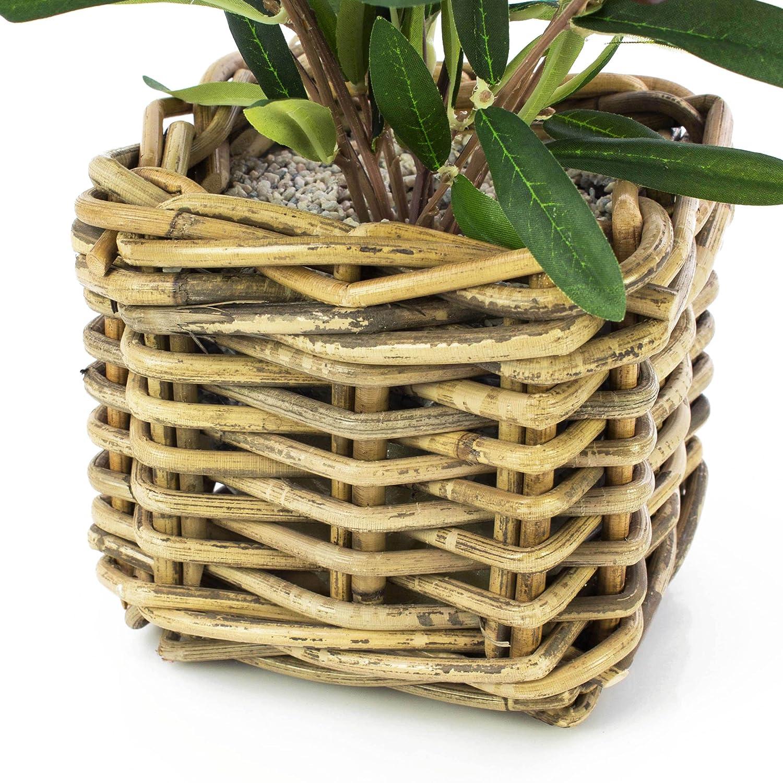 artplants 40 cm Alberello di olivo artificiale in cesto di vimini Olivo decorativo // Pianta finta