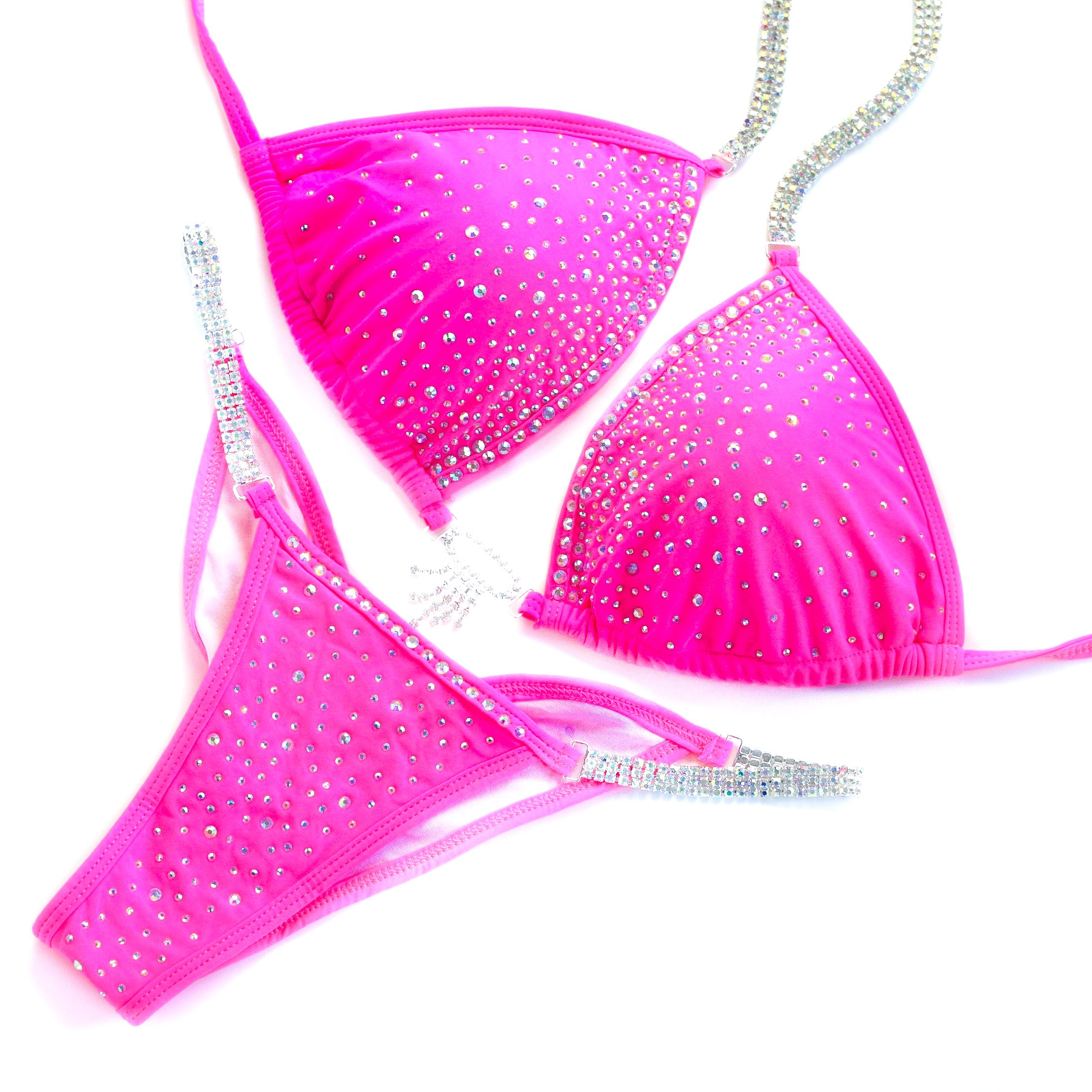 Vicky Ross Fit Competition Bikini Suit NPC IFBB WBFF For Women Rhinestone Connectors | Brazilian Scrunch |Pink ((M) B-C-D/Hips 37''-38'' (Cup Dimensions W 7.5''; H)