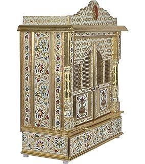 Desi Bazar Meenakari Wooden Pooja Mandir For Home Daily Puja/Aarti/ Altar  Temple Golden