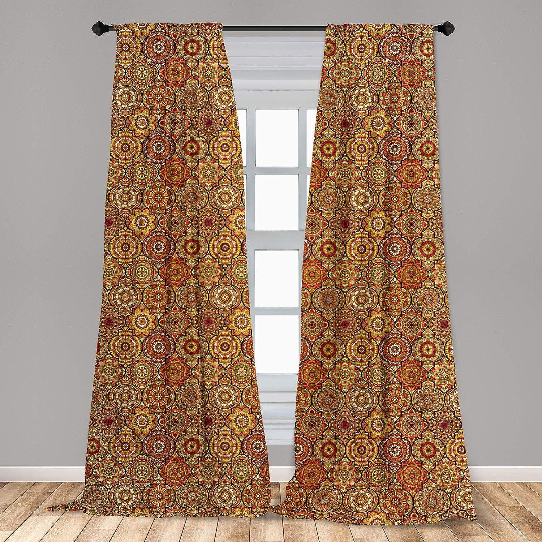 "Ambesonne Moroccan 2 Panel Curtain Set, Vintage Hand Drawn Style Ottoman Trellis Floral Motifs, Lightweight Window Treatment Living Room Bedroom Decor, 56"" x 84"", Orange Yellow"