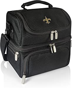 PICNIC TIME NFL New Orleans Saints Pranzo Insulated Lunch Tote with Service for One, Black
