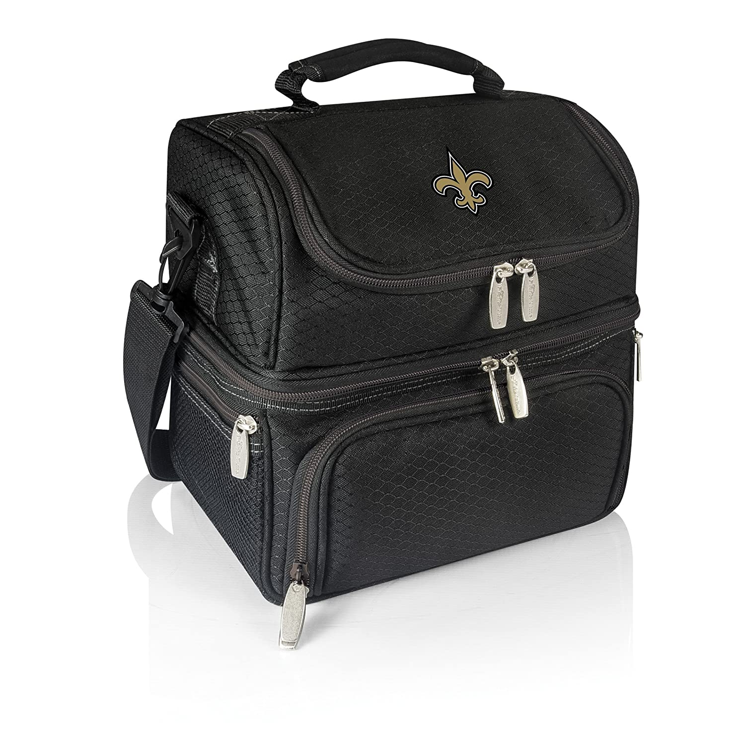 PICNIC TIME NFL New Orleans Saints Pranzo Insulated Lunch Tote with Service for One Black