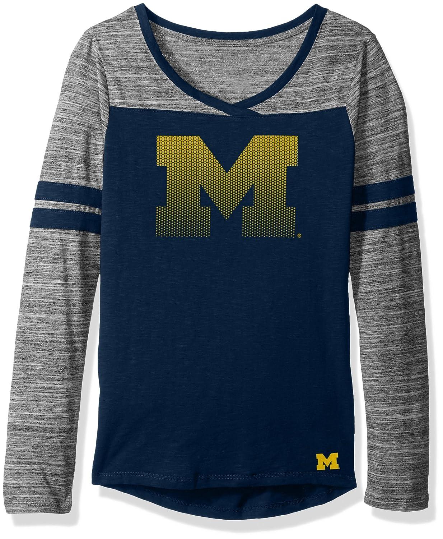 X-Large Team Color 15-17 NCAA Michigan Wolverines Juniors Outerstuff Secret Fan Long Sleeve Football Tee