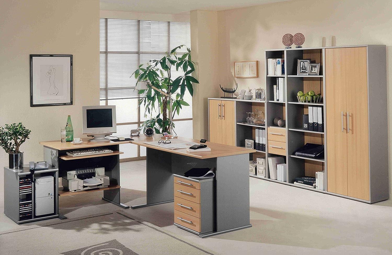Büroeinrichtung Büromöbel Aktenschrank Alu Aktenregal Buche Alu ...