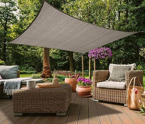 Osimlead 12' x 12' Rectangle Grey Sun Shade Sail Canopy UV Block Awning Cover