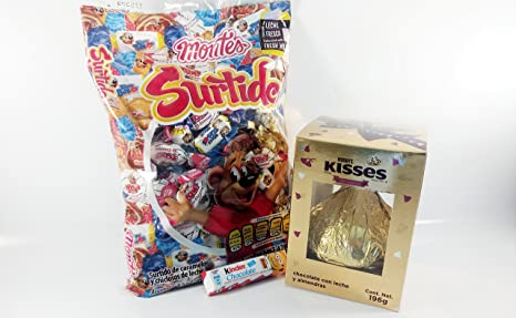 Pack Chocolate kisses giant With almonds and surtido montes Authentic Mexican Candy with Free Chocolate Kinder