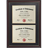 ELSKER&HOME Double Certificate Frame-Cherry Wood Color - 2.0mm Panels-Made for Document&Diploma for Two 8.5×11 Inch with…