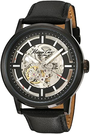 323d54826 Amazon.com: Kenneth Cole New York Men's KC1632 Skeleton Dial Automatic  Analog Leather Strap Watch: Kenneth Cole: Watches