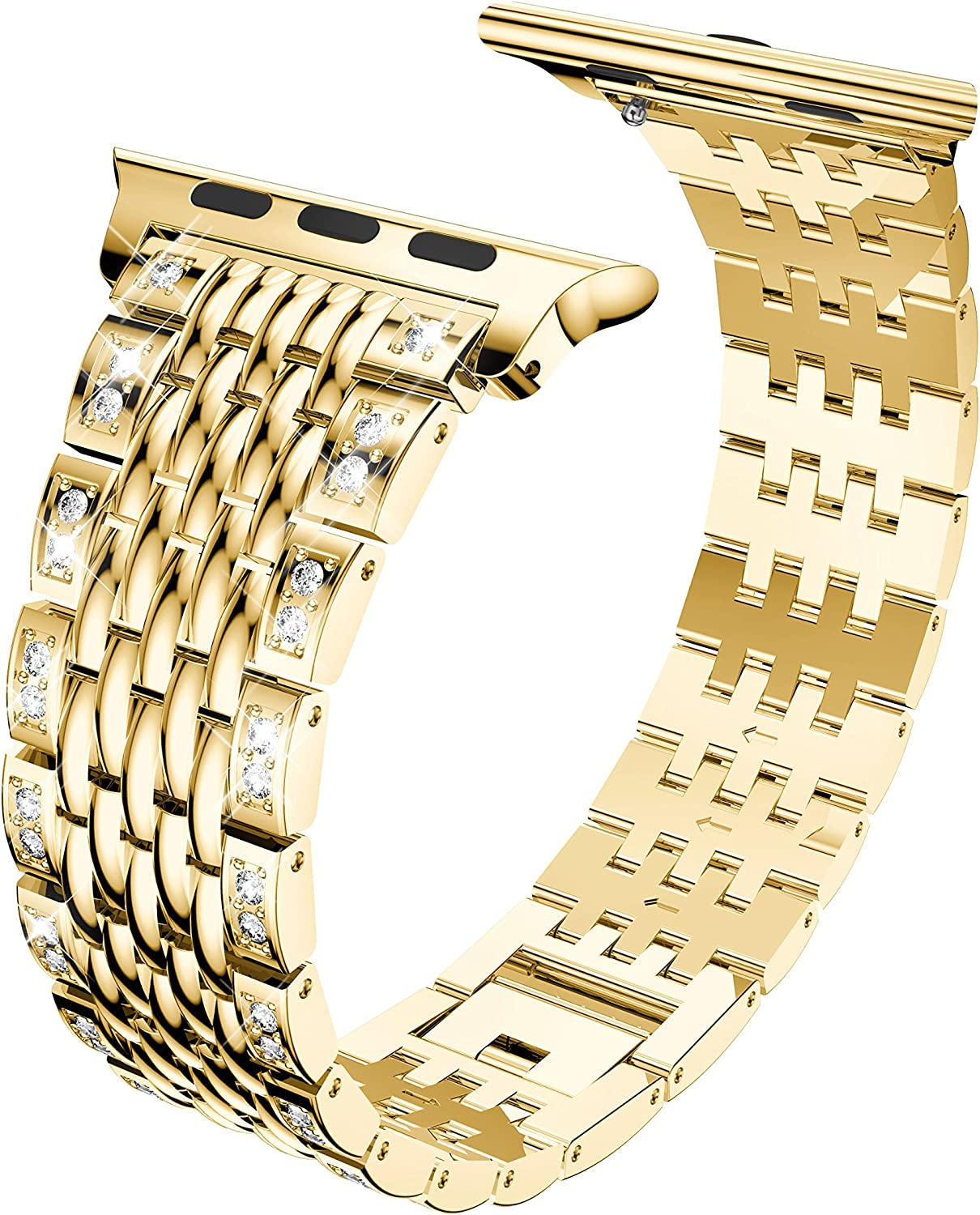 SEMILU Compatible with Apple Watch Band 38mm 40mm,Crystal Rhinestone Replacement Strap Compatible with iwatch SE Series 6 5 4 3 2 1-38/40mm Gold