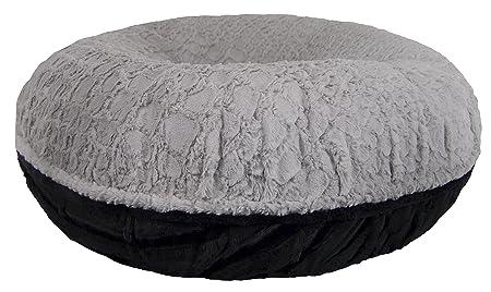 BESSIE AND BARNIE Signature Serenity Grey Black Puma Luxury Extra Plush Faux Fur Bagel Pet Dog Bed Multiple Sizes