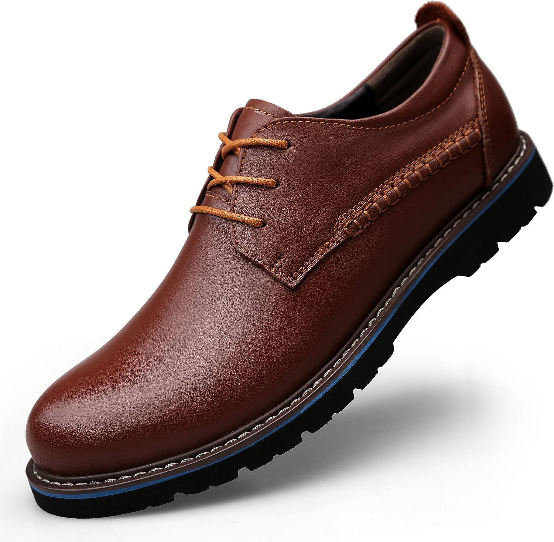 LessMore - Zapatos de Cordones de Piel para Hombre