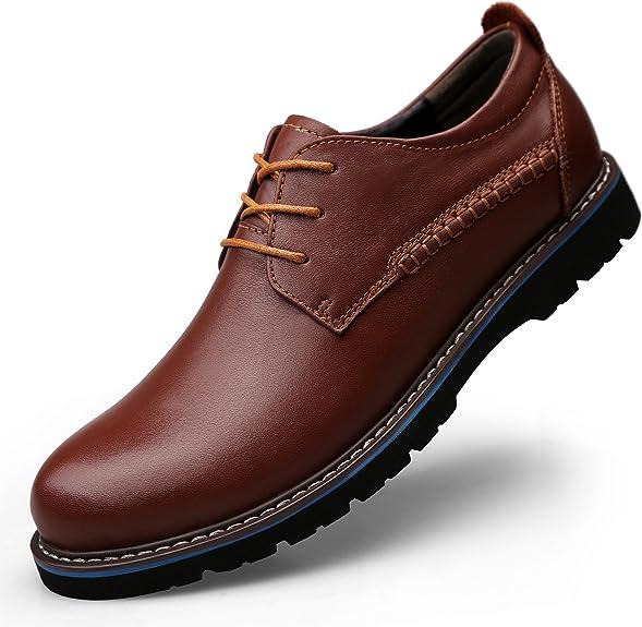 TALLA 43 EU. LessMore - Zapatos de Cordones de Piel para Hombre