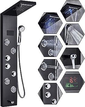 Panel de ducha LED, panel columna de ducha, de acero inoxidable ...