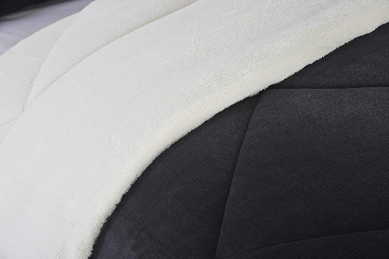 Full//Queen Lorient Home Reversible 3 Piece Fleece//Sherpa Down Alternative Comforter Set Dark Grey