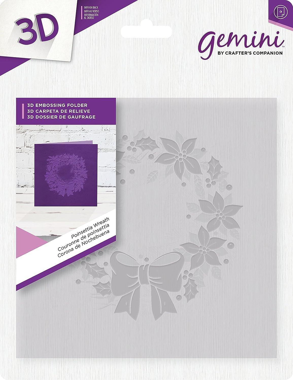 Gemini Poinsettia Wreath 3D Embossing Folder, 6 x 6-Inch Crafter' s Companion GEM-EF6-3D-PW