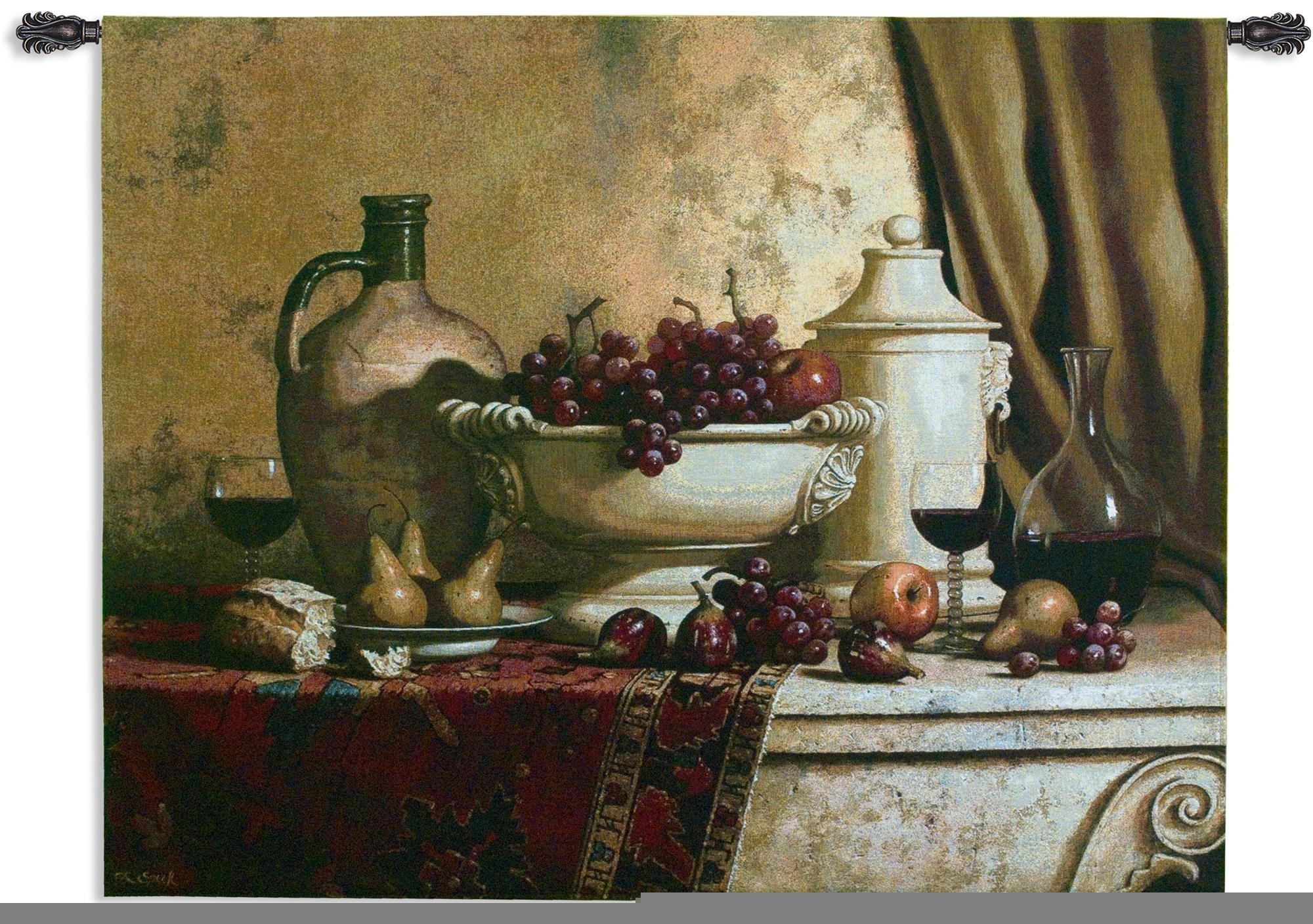 Fine Art Tapestries Italian Feast Medium Wall Tapestry 2543-WH 53 inches wide by 42 inches long, 100% cotton