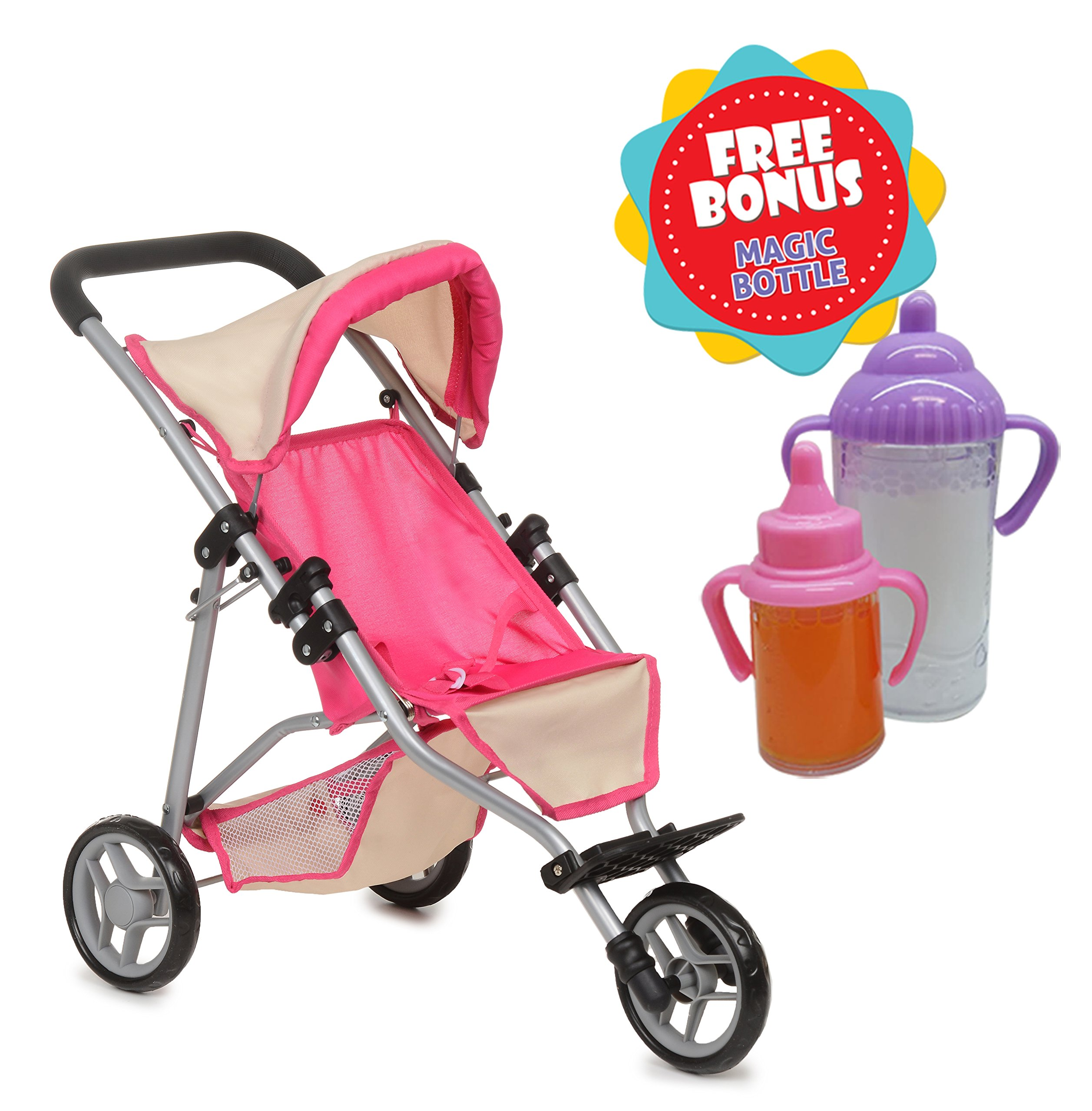 Exquisite Buggy, My First Doll Jogger Stroller - Soft Pink & Off-white Design - Free Bonus Magic Bottles