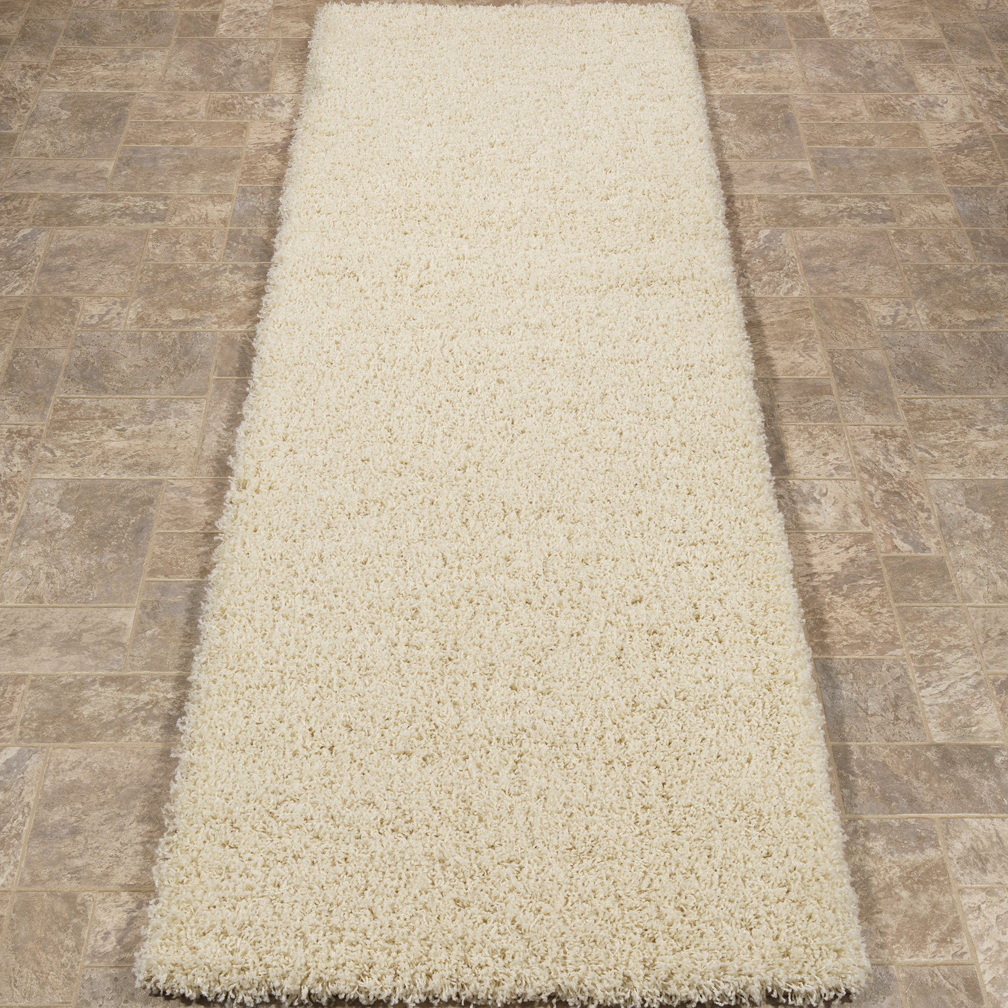 Cozy Shag Collection Cream Solid Shag Rug (2'7''X7'6'') Contemporary Living and Bedroom Soft Shaggy Runner Rug