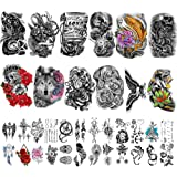 Yazhiji 36 Sheets Temporary Tattoos Stickers Include 12 Sheets Large Stickers Fake Body Arm Chest Shoulder Tattoos for…