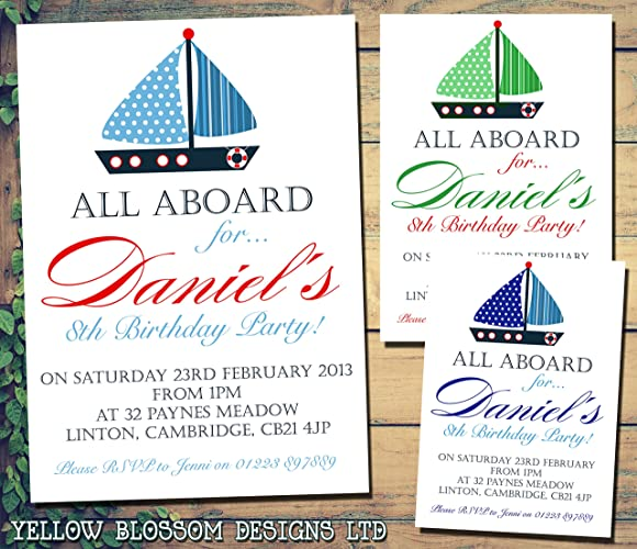 Personalised Childrens Birthday Invitations Printed Invites Boy Girl Joint Party Twins Unisex Nautical Boat All Aboard